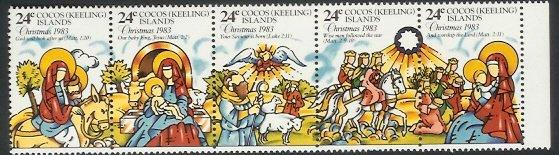 Cocos Is - 1983 Christmas. Extracts from the New Testament (strip) (MNH)