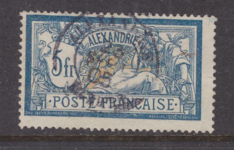 FRENCH PO EGYPT, ALEXANDRIA, 1902 5f. Merson, used.