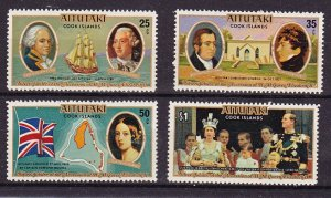 Aitutaki MNH 148-51 Silver Jubilee QE II 1977