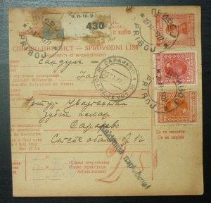 Yugoslavia 1927 Parcel Card from Priboj Serbia to Sarajevo Bosnia A11