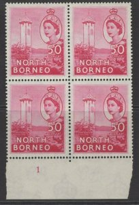 NORTH BORNEO SG382a 1959 50c ROSE MNH BLOCK OF 4