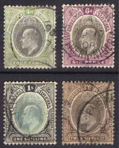 Nigeria Southern 1905 4d-2s6d Definitive SG 26-29 Scott 25-28 VFU Cat £49($76)