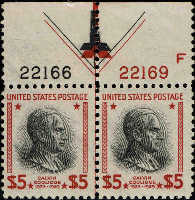 #834 TOP PLATE NUMBER ARROW PAIR 1938 $5 PRESIDENTIAL ISSUE MINT-OG/NH