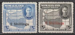 BRITISH SOMALILAND PROTECTORATE 1951 KGVI MAP OVEPRINTED 2S AND 5S
