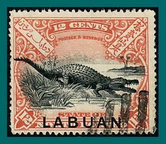 Labuan 1898 Crocodile (corrected, p 16), cancelled #85,SG98c