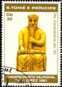 Chess Pieces, St. Thomas & Prince Isld stamp SC#624 used
