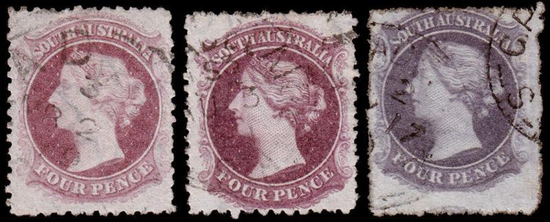 South Australia Scott 68, 68a, 68b (1876, 79) Used  F-VF, CV $32.00 M