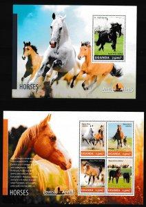 Uganda - HORSES - Set + S.S. - MNH