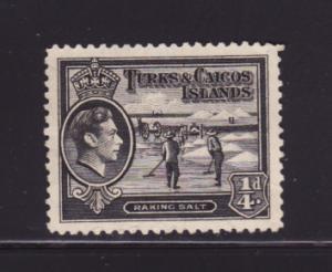 Turks and Caicos Islands 78 MNG George VI, Raking Salt (B)
