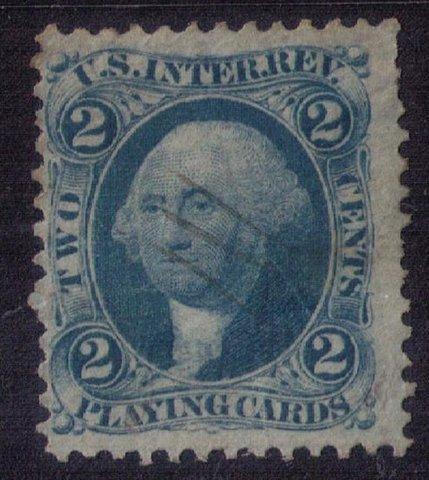 US Scott #R11c 2c Blue Used Revenue Playing Cards, F-VF