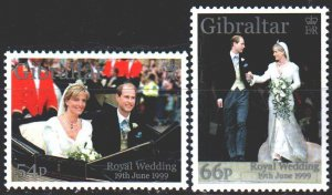 Gibraltar. 1999. 893-94. Prince's Wedding. MNH.