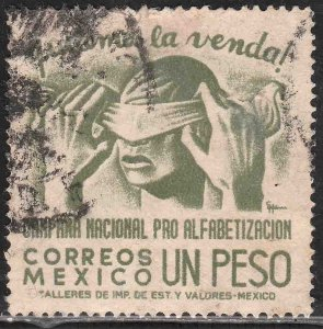 MEXICO 809, $1Peso Blindfold, Literacy Campaign USED. VF. (969)