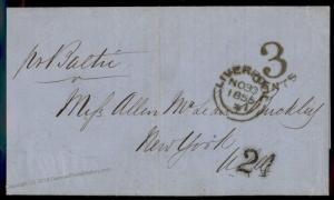 England Britain 1855 New York USA Transatlantic Stampless Cover 77671