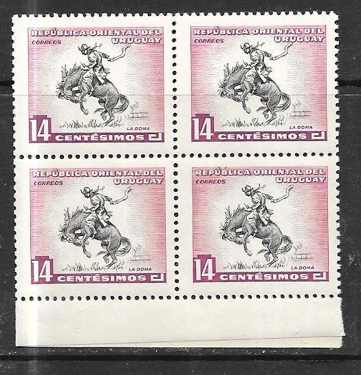 Uruguay #614  Horse Breaking  blocks of 4  of 4 ( MNH) CV $1.20