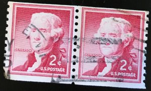 1055 Jefferson, Liberty Series, 10V Perf. Coil, Circ. Pair, Vic's Stamp Stash