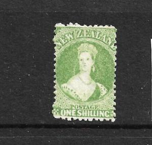 NEW ZEALAND 1864-71 1/-  YELLOW GREEN  FFQ  MNG  P12 1/2  CP A6M4  SG 125 CHALON