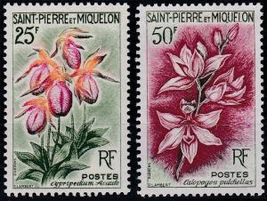 St. Pierre and Miquelon #360-361 MNH CV$14.50 Flowers [63366]