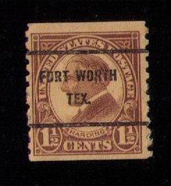 US Sc 598 Precancel Fort Worth Texas F-VF