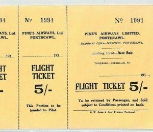 GB WALES *Pines Airways* Flight Ticket 1930s Porthcawl Glam {samwells-covers}BS5