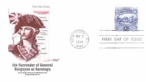 U.S.1994 $1. Surrender of Burgoyne FDC  Artmaster Product  VF/Unaddresesd.