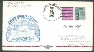 GILBERT & ELLICE IS US PO 1947 first flight cover Canton Is to Australia...91670
