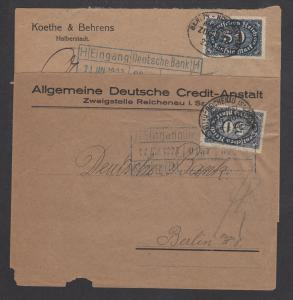 Germany Sc 198 used on 1923 BAHNPOST covers, 2 different, additional markings