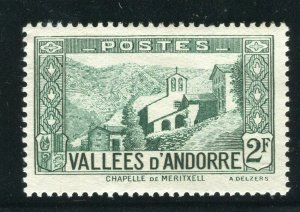 FRENCH ANDORRA; 1932 early Pictorial issue fine Mint hinged 2Fr. value