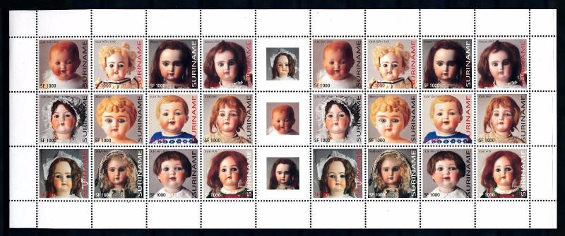 [SUV1194] Surinam 2003 Dolls Miniature sheet with labels MNH