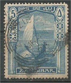ZANZIBAR, 1913, used 5r, Dhow Scott 133