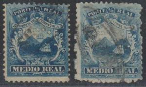 COSTA RICA 1863 Sc 1 Yvert 1 (2x) OVAL SAN JOSE & OTHER CANCELS F,VF €30.00+