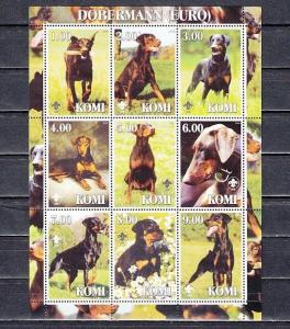 Komi, 2000 Russian Local. Dobermann, Dogs sheet of 9. Scout logo. ^