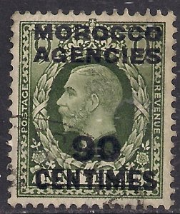 Morocco Agencies 1935 - 37 KGV 90ct on 9d Dp Olive Grn used SG 222 ( M1295 )