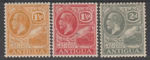 ANTIGUA 1921 KGV BADGE 11/2D RED 1/12D ORANGE AND 2DWMK MULTI SCRIPT CA