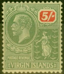 Virgin Islands 1923 5s Green & Red-Yellow SG101 V.F Very Lightly Mtd Mint
