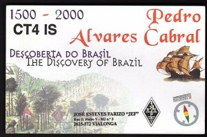 QSL QSO RADIO CARD The Discovery of Brazil,Pedro,Alvares Cabral,Jose, (Q2161)