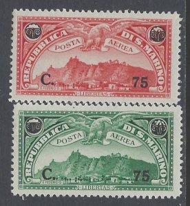 San Marino, Scott #C17-C18; Surcharged View of San Marino Issues, MLH