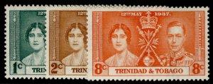 TRINIDAD & TOBAGO GV SG243-245, CORONATION set, M MINT.