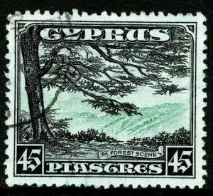 CYPRUS SG143, 45pi green & black, FINE USED. Cat £75.