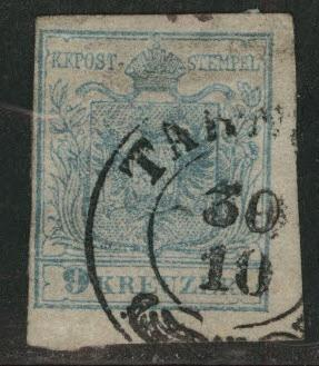 Austria Scott 5f Used stamp from 1950 Coat of Arms Pale Blue