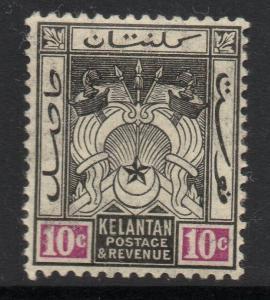MALAYA KELANTAN SG6 1911 10c BLACK & MAUVE MTD MINT
