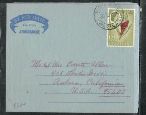 SWAZILAND COVER  (P2205B)  1967 QEII 12 1/2C FLOWER ON AEROGRAM MBABANE TO USA