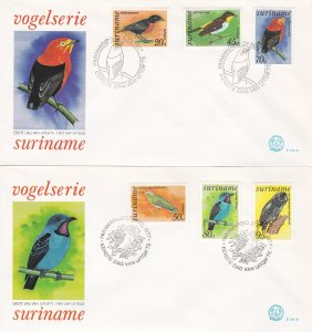Suriname #  C58-71, C60a, Tropical Birds on 5 First Day Covers