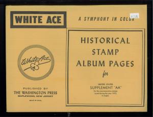 1972 White Ace United States Commemorative Singles Stamp Album Supplements AA