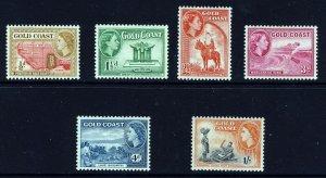GOLD COAST QE II 1952-54 Definitive Part Set SG 153 to SG 161 MINT