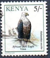 Kenya Scott #601 5sh Fish Eagle, bird (1994) used