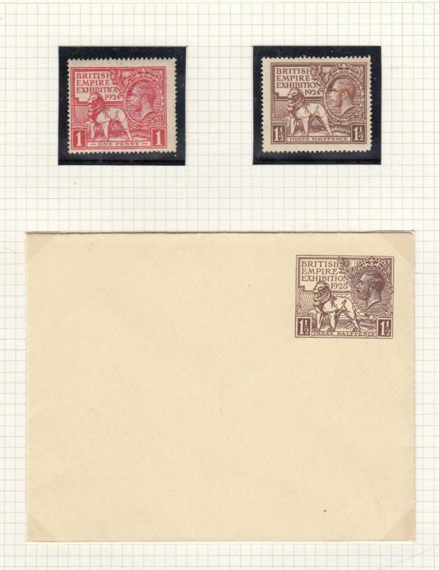 GB SG 430-431 MLH 1924 ALSO 1925 MINT COVER BRITISH EMPIRE EXHIBITION