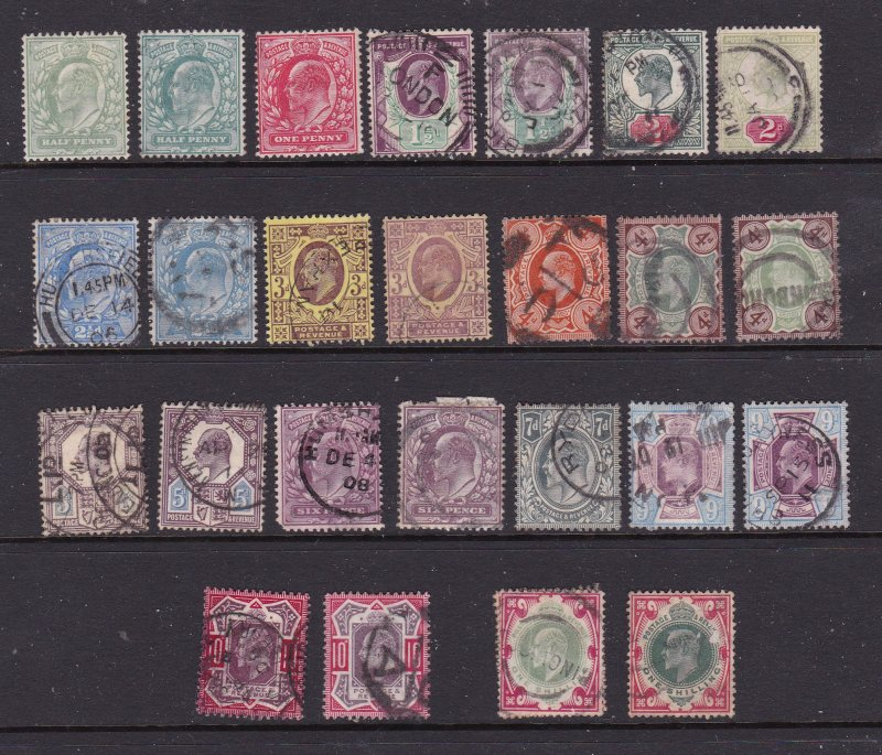 Great Britain an Edward unsorted lot 0.5d to 1/- used