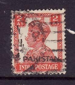 Pakistan-Sc#6-used 2a scarlet KGVI-1947-