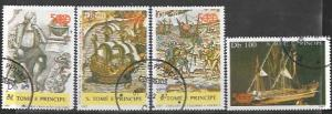 St Thomas & Prince # 884 - 886 & B153 Ships of Columbus