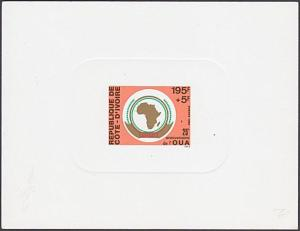 IVORY COAST 1988 OUA - Map of Africa- delux die proof......................87359